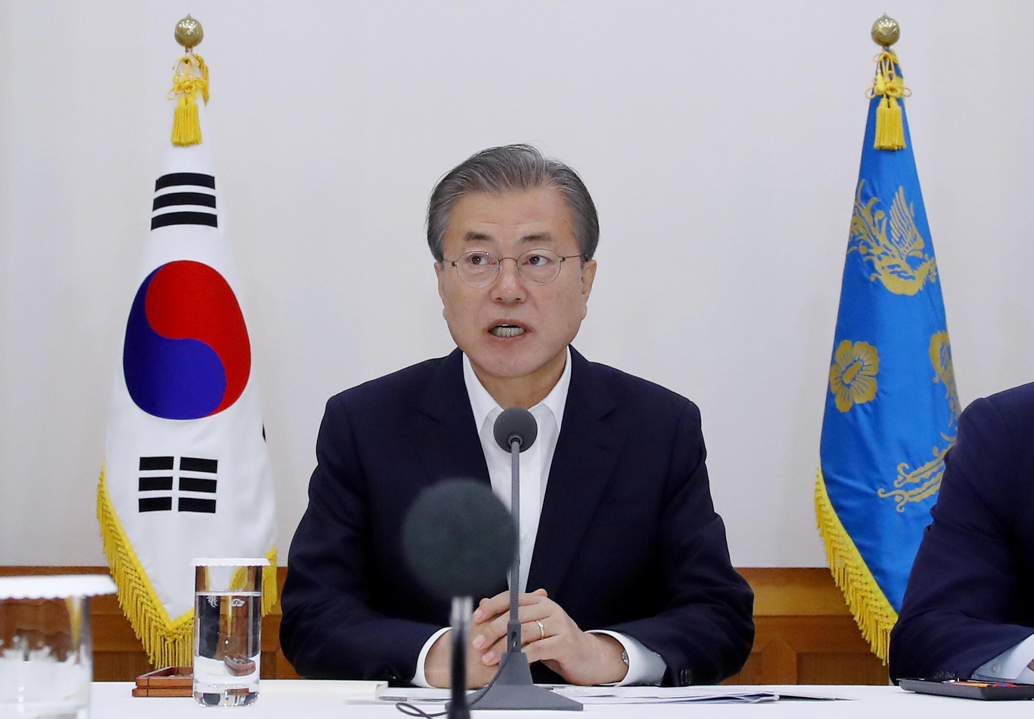 韓國總統文在寅在30大企業集團高管會議上發表講話 2019年è月10