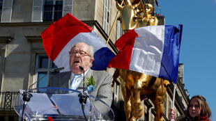 National Front party founder Jean-Marie Le Pen delivers a speech during the traditional May Day tribute to Joan of Arc (Jeanne d'Arc) in front of her statue in Paris, France, May 1, 2016.