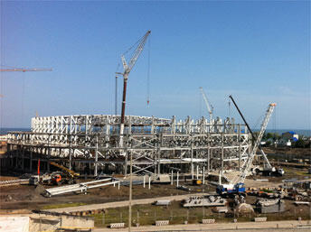 Construction du stade.