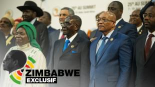Robert Mugabe entouré du président sud-africain Jacob Zuma (d), de Nkosazana Dlamini-Zuma, la présidente de l'Union africaine.