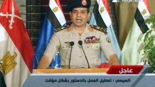 Le général Abdelfatah al-Sissi annonce la destitution de Mohamed Morsi à la télévision égyptienne, le 3 juillet 2013.