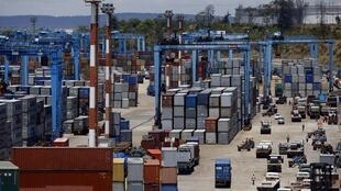 Containers at the main port in the Kenyan coastal city of Mombasa.