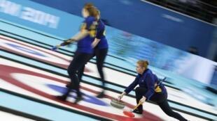L'équipe de Suède feminine de curling, à Sotchi, le 20 février 2014.