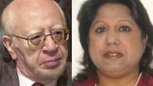 Mohamed Bedjaoui (G) et Pramila Patten (D), deux des trois membres de la commission d'enquête de l'ONU.