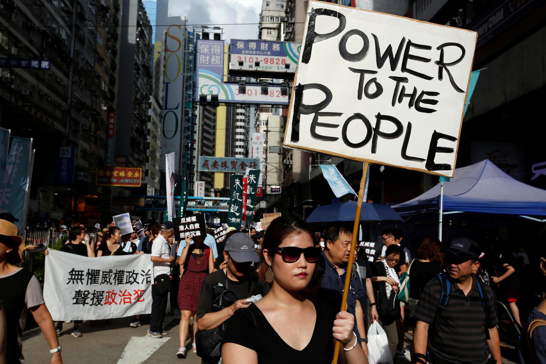 香港泛民主派团体2017年10月1日中国国庆日举行抗议集会。