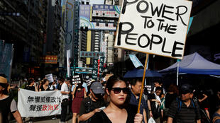 香港泛民主派團體2017年10月1日中國國慶日舉行抗議集會。