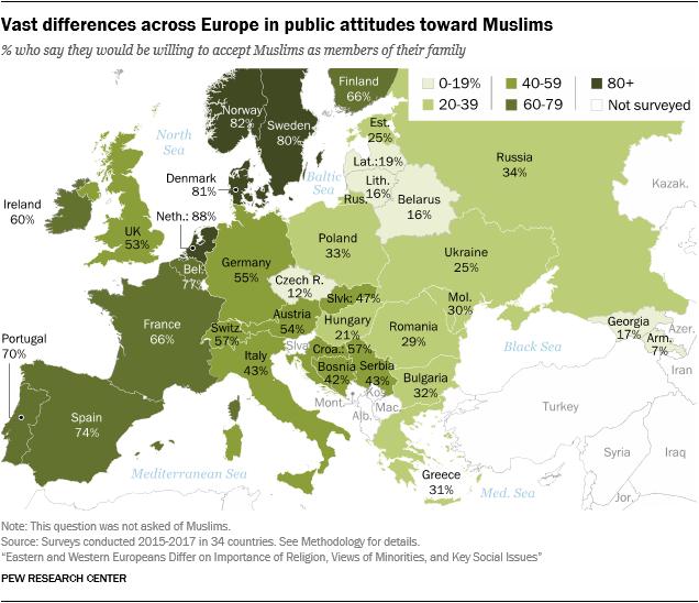 Карта Европы, отражающая отношение к мусульманам в разных странах.