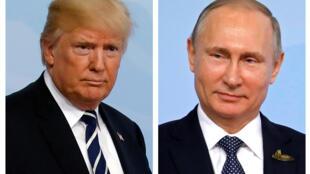 Tổng thống Nga Vladimir Putin (P) và nguyên thủ Hoa Kỳ Donald Trump