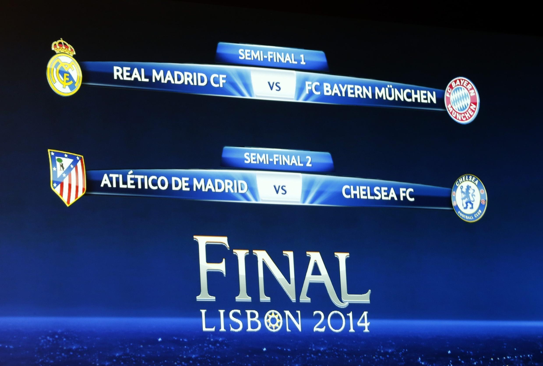 Tela com o resultado do sorteio das semifinais da Liga dos Campeões da Europa.