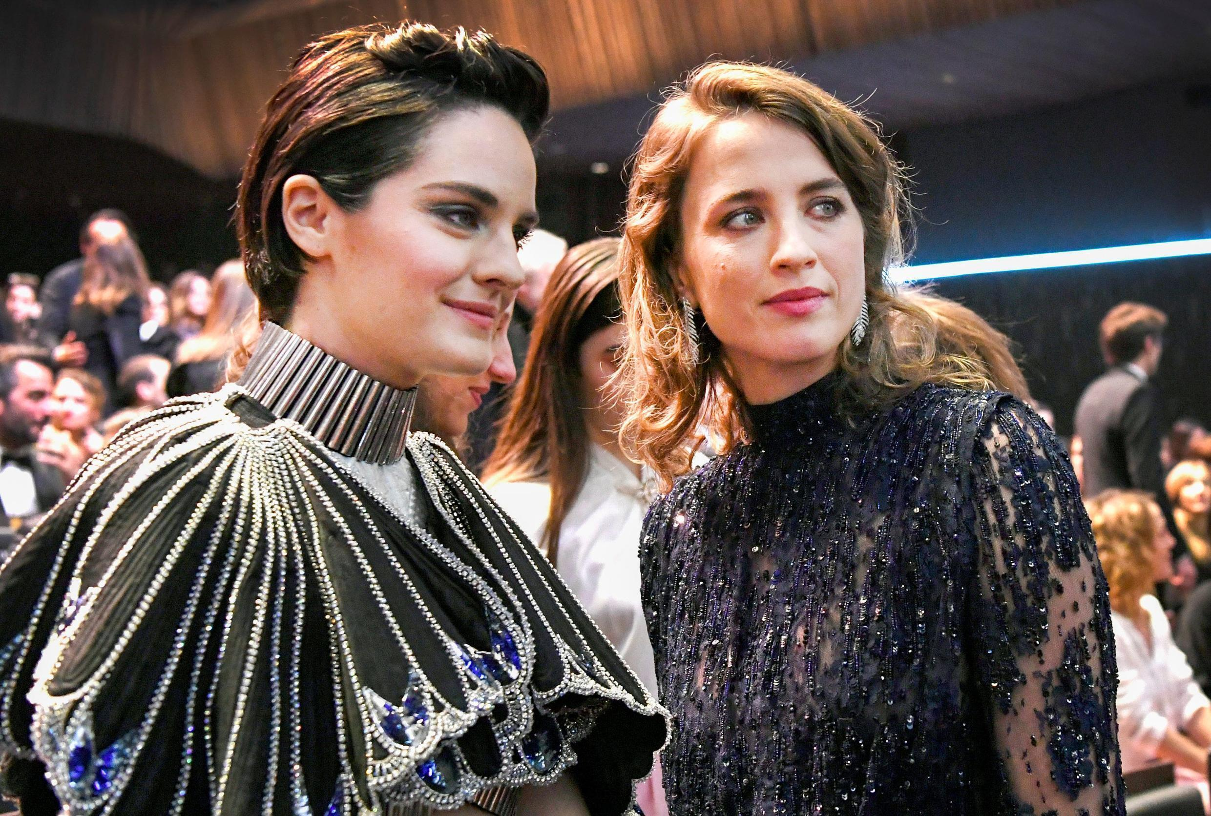 Actors Noemie Merlant (L) and Adele Haenel (R) at the Cesar Awards ceremony in Paris. Haenel has been a figurehead for denouncing sexual harassment in the French film industry.