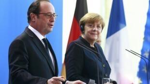Angela Merkel e Francois Hollande na Chancelaria em Berlim
