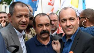Les leaders de FO Pascal Pavageau, de la CGT Philippe Martinez, de la CFDT Laurent Berger, lors d'une manifestation le 22 mai 2018 à Paris.