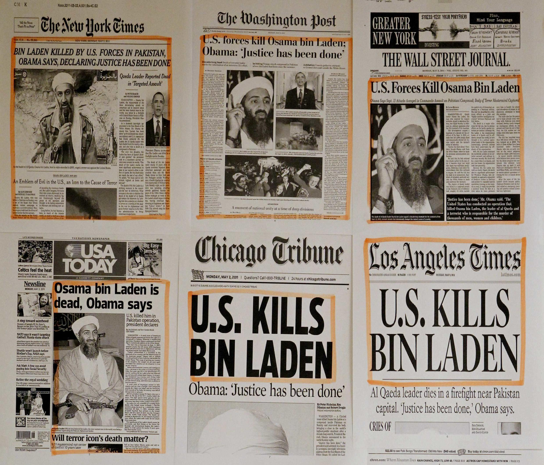 Todas las portadas de la prensa Estadounidense sin excepción, han sido dedicadas a la muerte de Bin Laden este 2 de mayo de 2011.