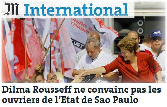 Dilma Rousseff é manchete do jornal le Monde desta segunda-feira,