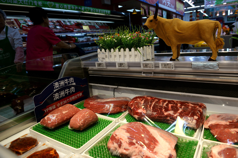 Thịt bò Úc được bày bán tại siêu thị Walmart ở Bắc Kinh, Trung Quốc, ngày 23/09/2019. Ảnh minh họa.