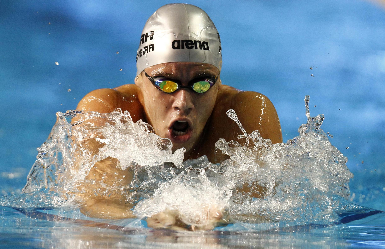 O brasileiro Thiago Pereira compete nos 400 metros medley em Guadalajara.