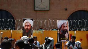 Акция в поддержку шейха ан-Нимра у посольства Саудовской Аравии в Сане, Йемен, октября 2014 г.