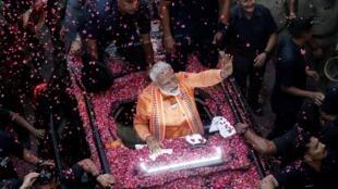 El primer ministro Narendra Modi durante la campaña electoral en la ciudad de Varanasi, el 25 de abril de 2019.