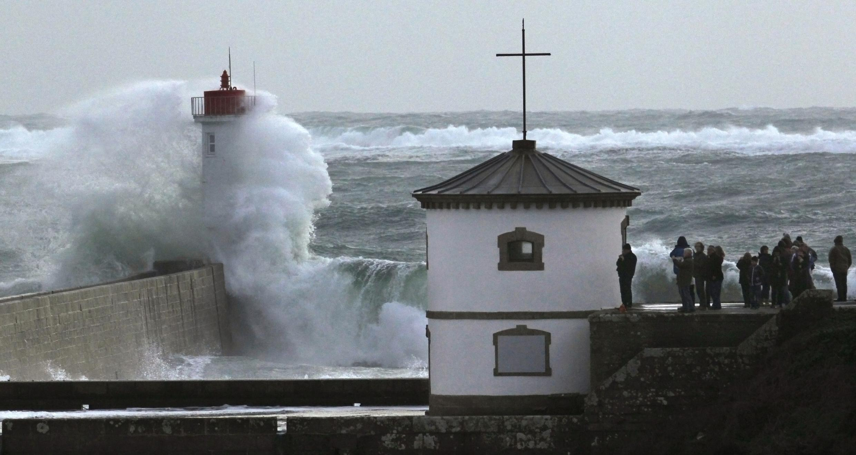 Waves break on the Brittany coastline last week
