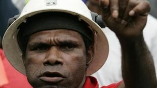 A striking worker from Freeport-McMoran copper and gold mine in Papua