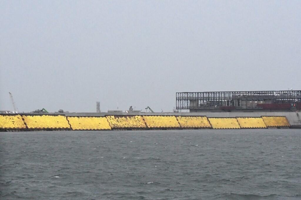 La digue du projet Mose, au large de Venise, le 3 octobre 2020.