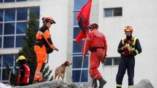Des sauveteurs cherchent dans les décombres d'un immeuble effondré à Durrës, en Albanie, le 29 novembre 2019.