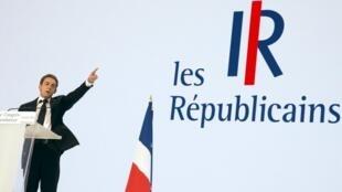 Nicolas Sarkozy, le 30 mai dernier lors du congrès fondateur du mouvement politique Les Républicains.