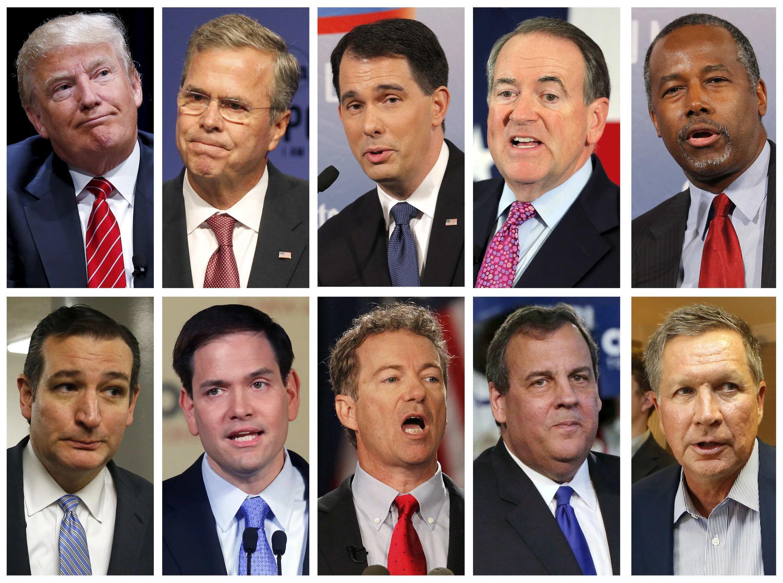 Les dix candidats à la primaire républicaine sélectionnés pour participer au débat (de gauche à droite, en haut): Donald Trump, Jeb Bush, Scott Walker, Mike Huckabee, Ben Carson, (en bas) Ted Cruz, Marco Rubio, Rand Paul, Chris Christie et John Kasich.