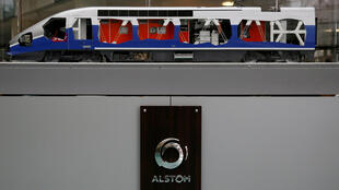 A scale model high-speed train at the presentation of Alstom's 2015/16 annual results