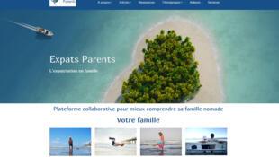 La page d'accueil du site «Expats parents»