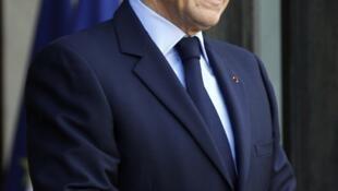 Nicolás Sarkozy en el palacio del Eliseo.