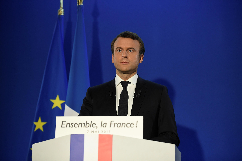 Emmanuel Macron lors de son discours après l'annonce des résultats, le 7 mai 2017.