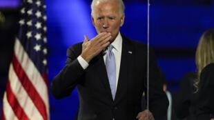 Le président élu Joe Biden s'adresse à ses partisans, le samedi 7 novembre 2020, à Wilmington, Del.