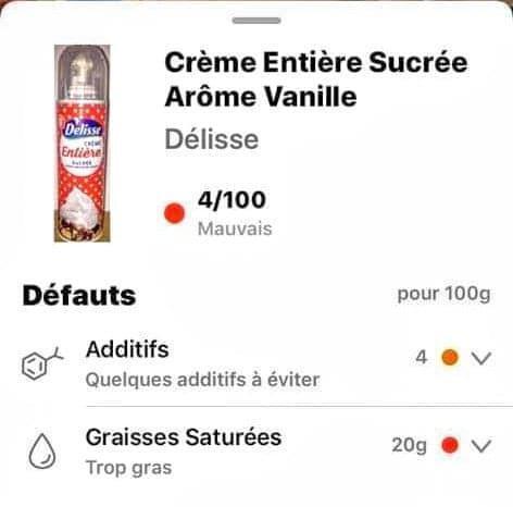Trên ứng dụng Yuka, kem chantilly do có quá nhiều chất phụ gia chỉ được 4 điểm trên 100