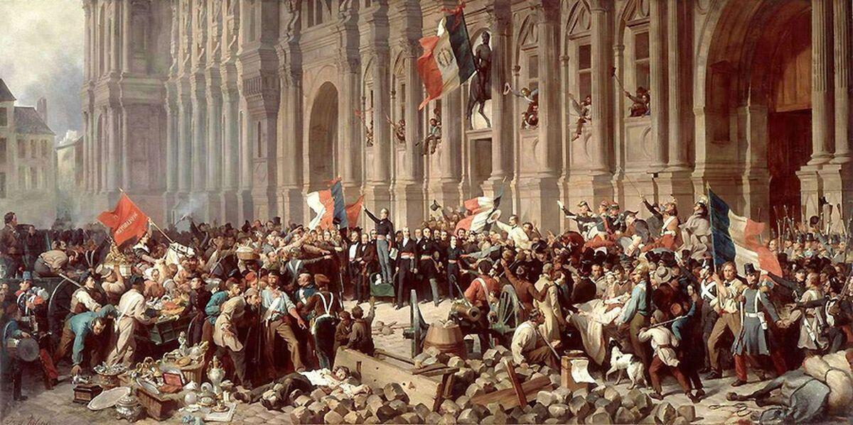 ساختمان شهرداری پاریس در جریان انقلاب ١٨۴۸