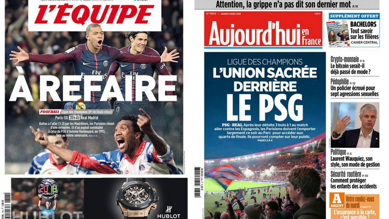 Manchetes do jornal L'Equipe e do Aujourd'hui en France para o jogo PSG x Real Madrid pela Liga dos Campeões.