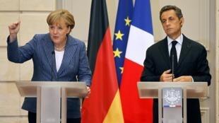 France's President Nicolas Sarkozy and German Chancellor Angela Merkel