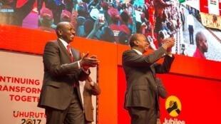 Raisi wa Kenya Uhuru Kenyatta na naibu wake Willium Ruto