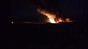 نمایی از انفجار یکی از پایگاههای نظامی سپاه پاسداران و حزب الله لبنان در سوریه
