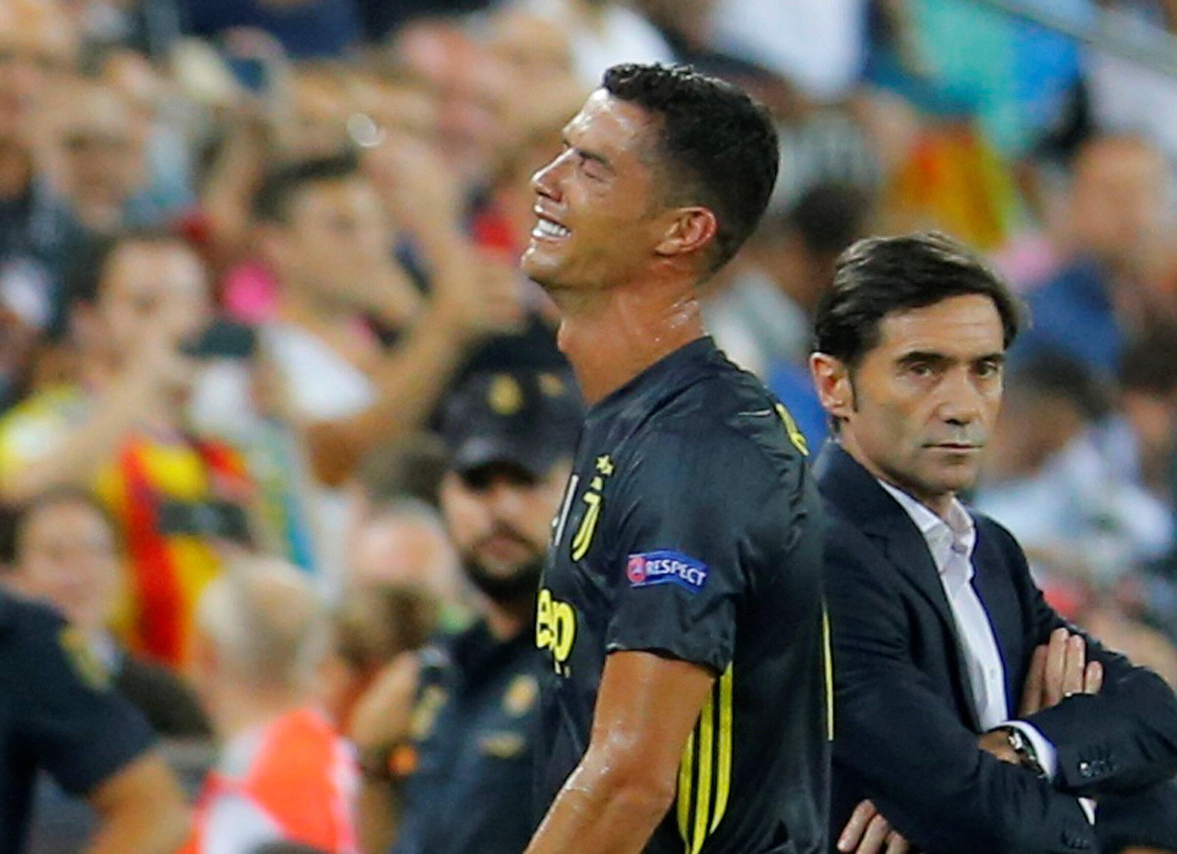 Cristiano Ronaldo en larmes au moment de son expulsion avec la Juventus à Valence, le 19 septembre 2018.