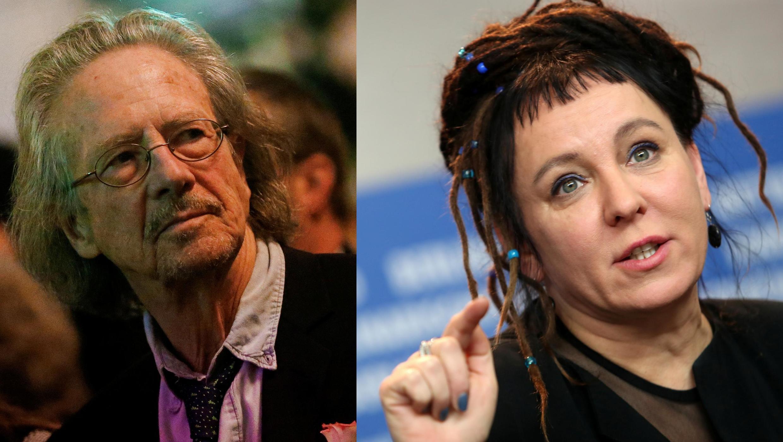 Hai người đoạt giải Nobel Văn Học: Nhà văn Áo Peter Handke (T), Nobel 2019, và nữ văn sĩ Ba Lan Olga Tokarczuk, Nobel 2018.