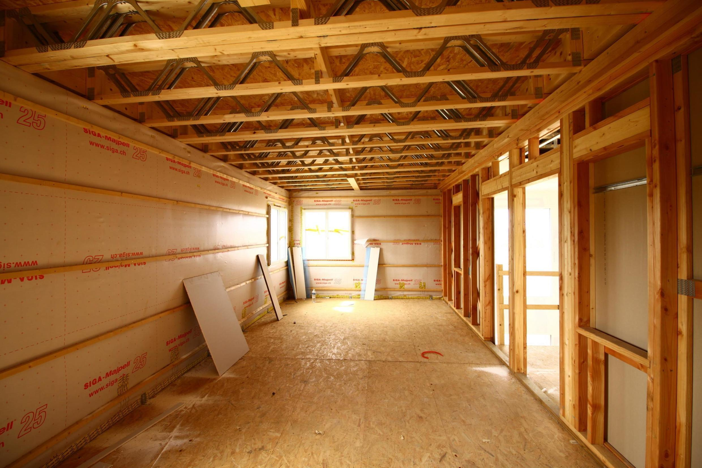 Chantier de construction Arteck d'une maison à ossature bois.