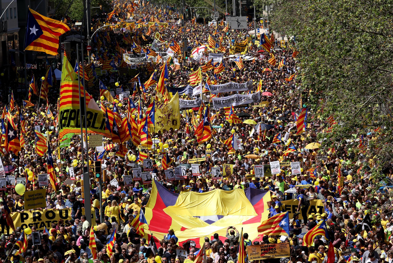 Biểu tình ủng hộ độc lập tại Barcelona, 15/04/2018.