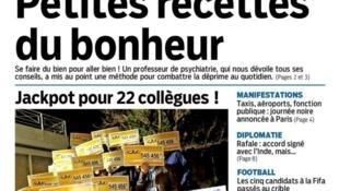"""""""Receitinhas da felicidade"""" é a manchete do jornal francês Aujourd'hui en France desta terça-feira, 26 de janeiro de 2016."""