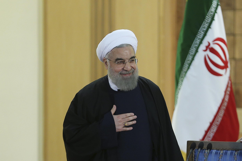 Президент Ирана Хасан Рухани на пресс-конференции 17 января 2016.