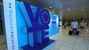 Quảng cáo, kêu gọi cử tri tham gia bầu Nghị Viện Châu Âu. Ảnh chụp tại Bruxelles, Bỉ, ngày 22/05/2019.