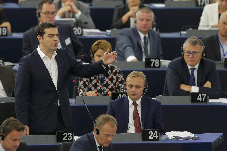 Алексис Ципрас обращается к депутатам Европейского парламента, Страсбург, 8 июля 2015 г.