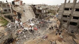Bâtiment détruit après un raid aérien israélien à Jabalya, dans le nord de la bande de Gaza, le 12 mars 2012.