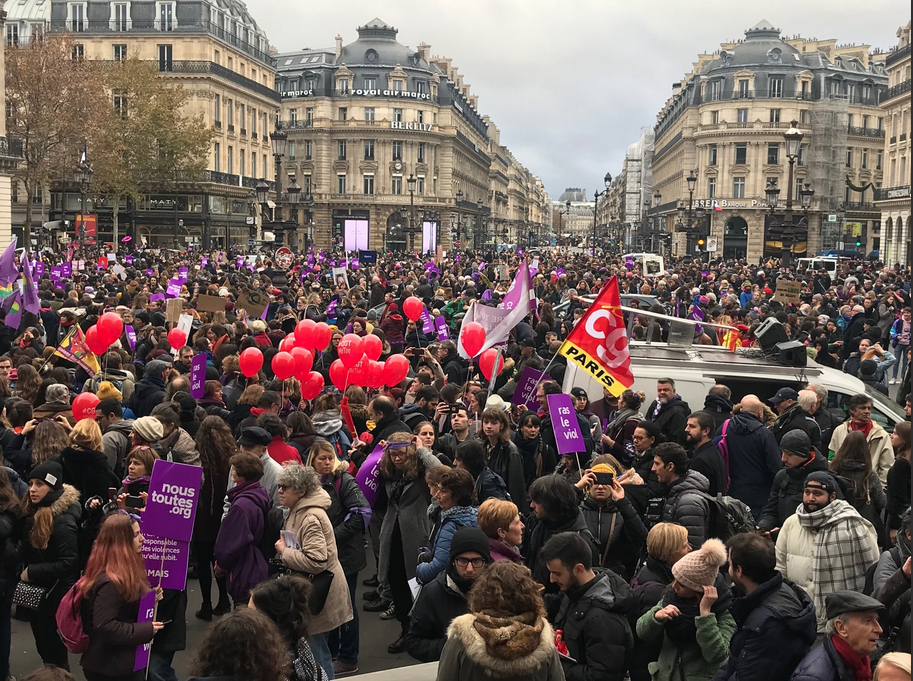 Marches against sexual violence take place in Paris in November 2018.