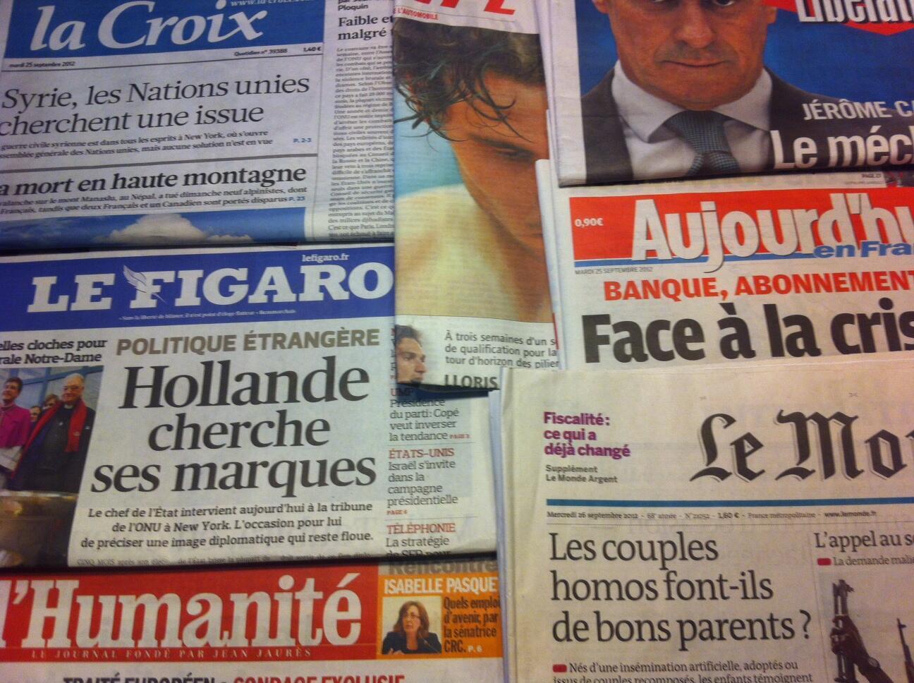 Capas diários franceses 25/09/2012